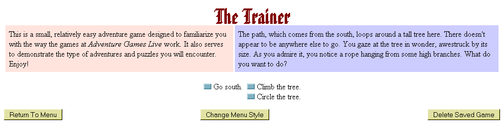 The Trainer Browser Start of the game