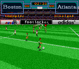Tony Meola's Sidekicks Soccer SNES Taking the ball down the field