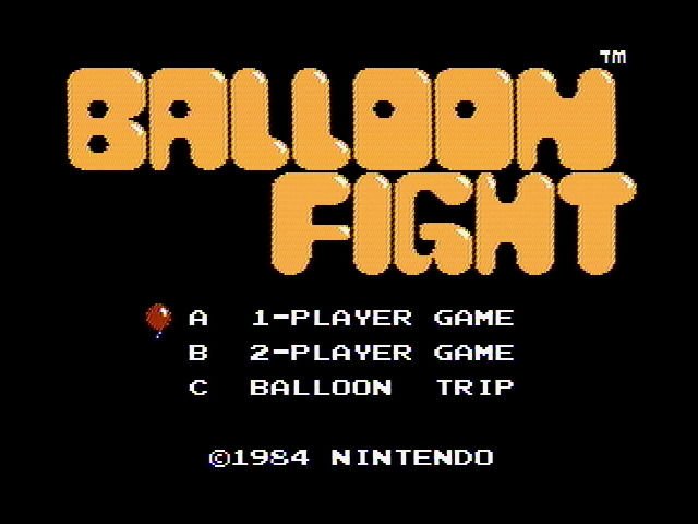 Balloon Fight NES Title screen