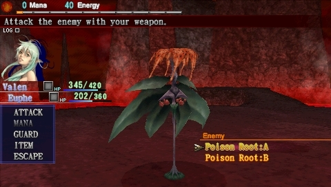 Dragoneer's Aria PSP Battles are turn-based. You choose your fighter and the attach the execute on an enemy.