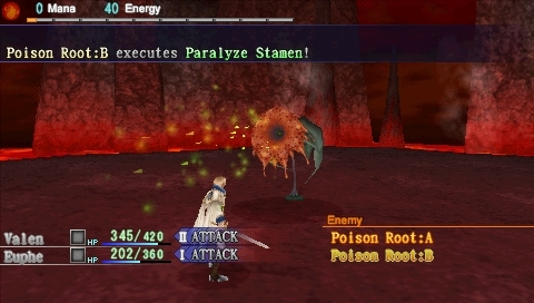 Dragoneer's Aria PSP Fighting a poisonous plant in a lava cave.