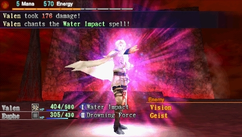 Dragoneer's Aria PSP Valen summons a spell during battle.