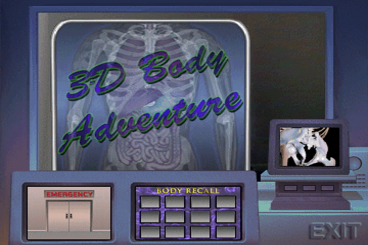 3-D Body Adventure DOS Game selection menu