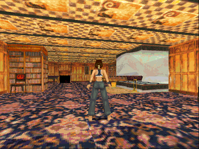 Tomb Raider DOS Lara's home. Here you can practice all the basic moves and learn the controls