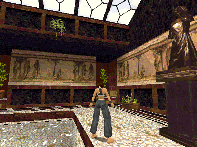 Tomb Raider DOS A sculpture in the pool room