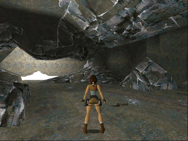 Tomb Raider DOS It seems odd that one would where shorts and a tank top in such chilly conditions