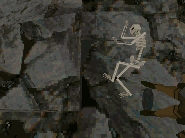 Tomb Raider DOS Human skeletons are never a good sign...