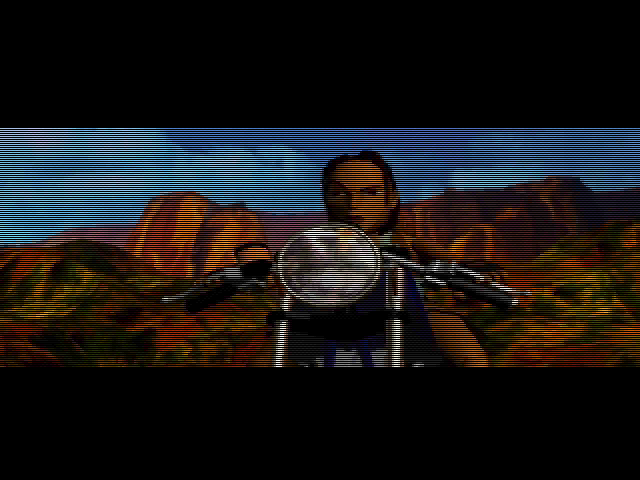 Tomb Raider DOS Lara's determined face in a cutscene