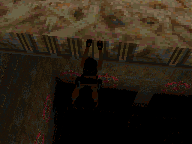 Tomb Raider DOS What could keep Lara dangling on the edge of this bottomless pit ? Play the game and find out, you lazy bums!