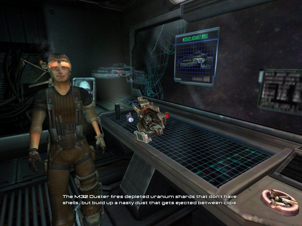 Unreal II: The Awakening Windows Before missions, you should visit this guy to get some info on the weapons you'll be using.