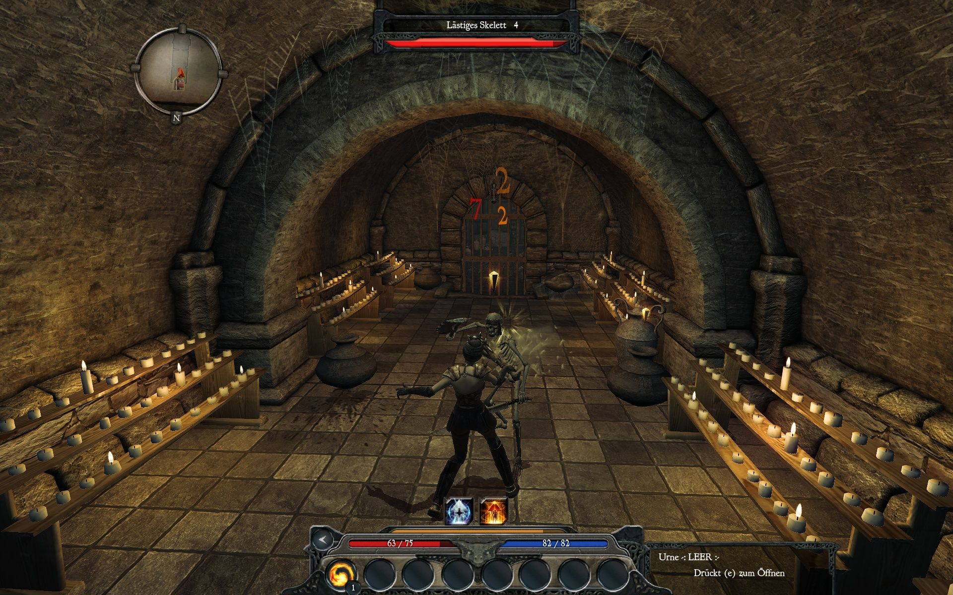 Divinity II: Ego Draconis Windows Fighting a skeleton in a crypt - classic role-playing style