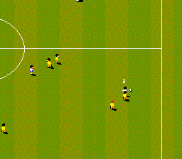 Championship Soccer '94 SNES Carrying the ball up field
