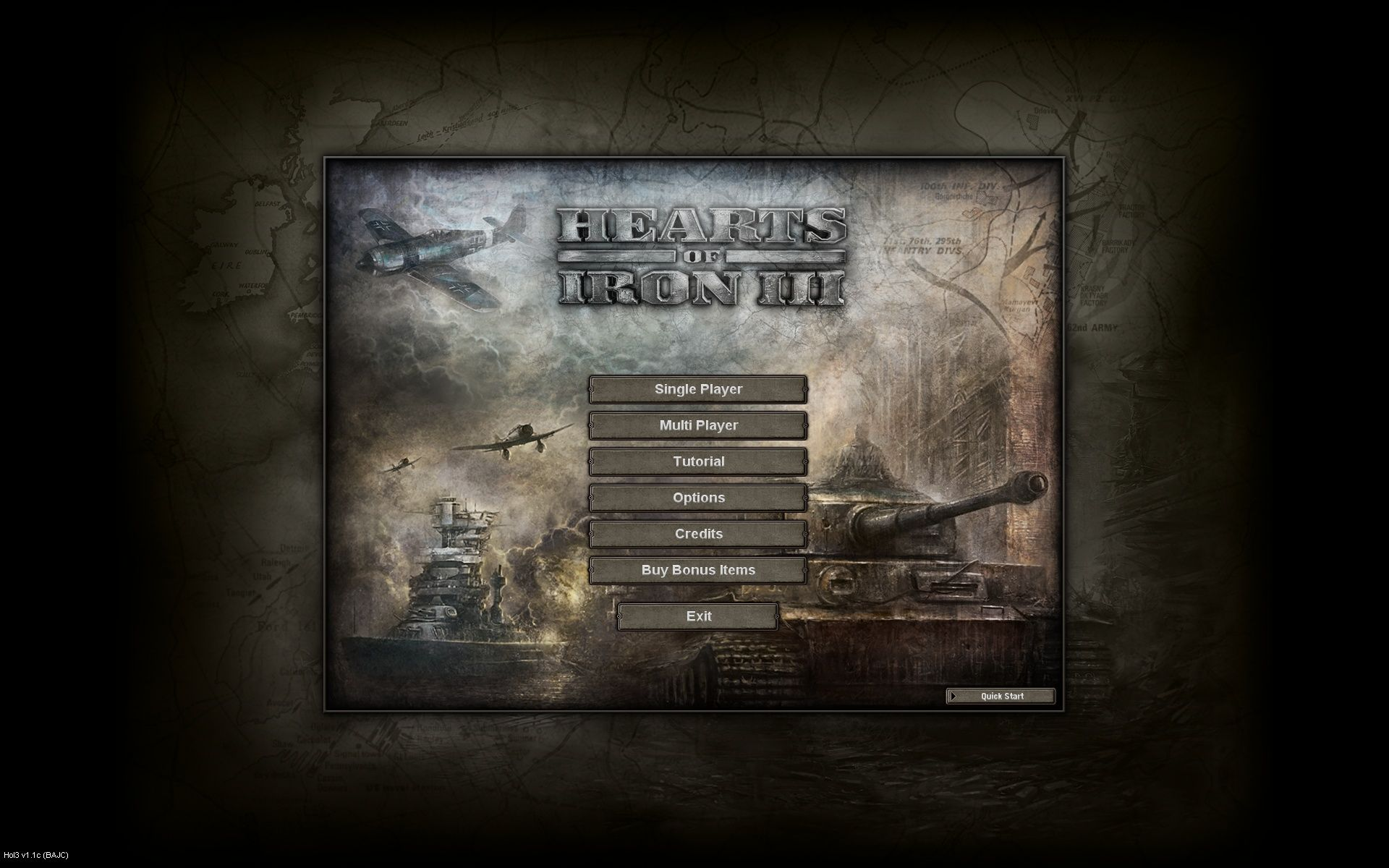Hearts of Iron III Windows Main Menu
