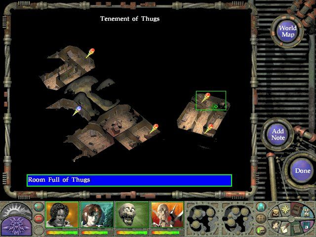 Planescape: Torment Windows Any map can have your own note added to it. A red post is automatic - a blue one is yours.