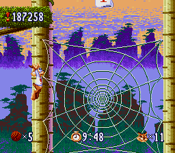 Bubsy in: Claws Encounters of the Furred Kind SNES Think of the kind of spider that is able to spin that web
