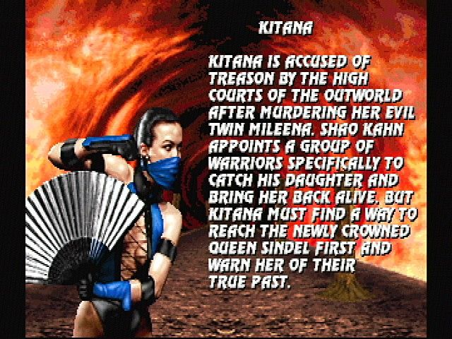 Ultimate Mortal Kombat 3 SEGA Saturn Kitana's Bio
