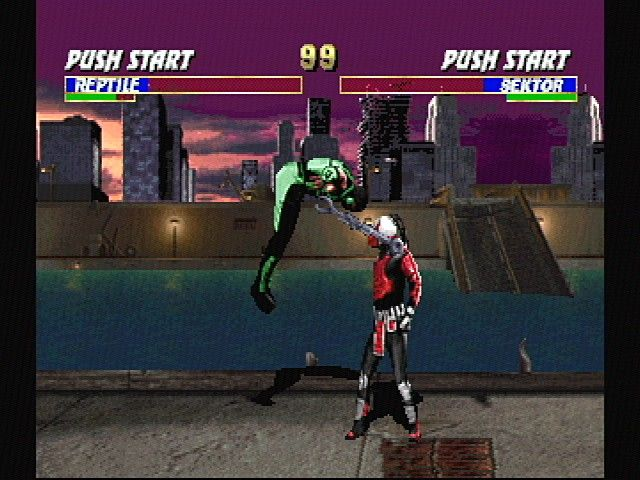 Ultimate Mortal Kombat 3 SEGA Saturn Reptile vs Sektor