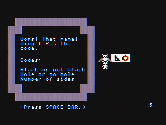Think Quick! DOS Oops, that piece didn't match (CGA with composite monitor)