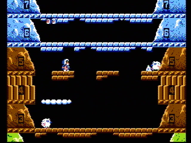 Ice Climber NES Use the mallet to smash bricks that block your way