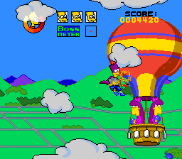 The Simpsons: Bart's Nightmare SNES Bartman fights the twins in their hot air balloon