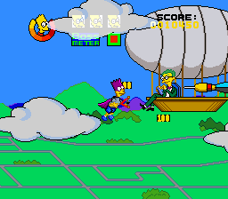 The Simpsons: Bart's Nightmare SNES Smithers attacks from a blimp
