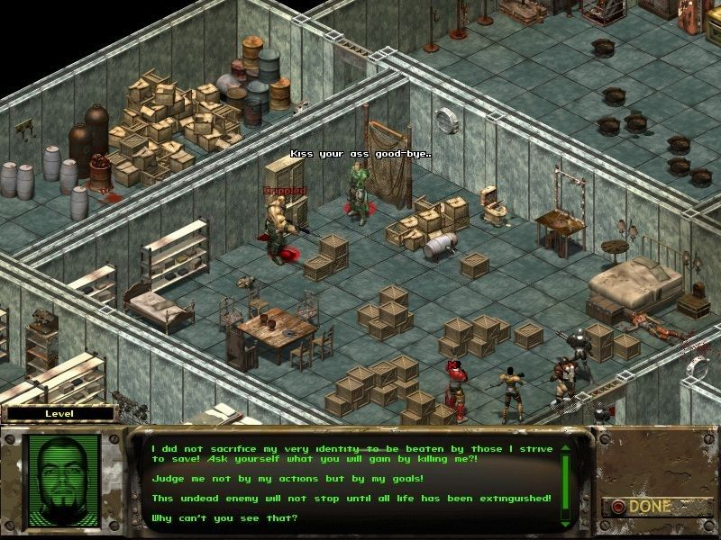 Fallout Tactics: Brotherhood of Steel  Windows The Brotherhood of Steel in an end-of-chapter boss fight against the tommygun-wielding Super Mutant leader Gammorin
