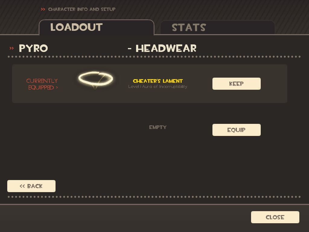 Team Fortress 2 Windows The Cheater's Lament hat, given as a reward for players who didn't cheat to unlock items
