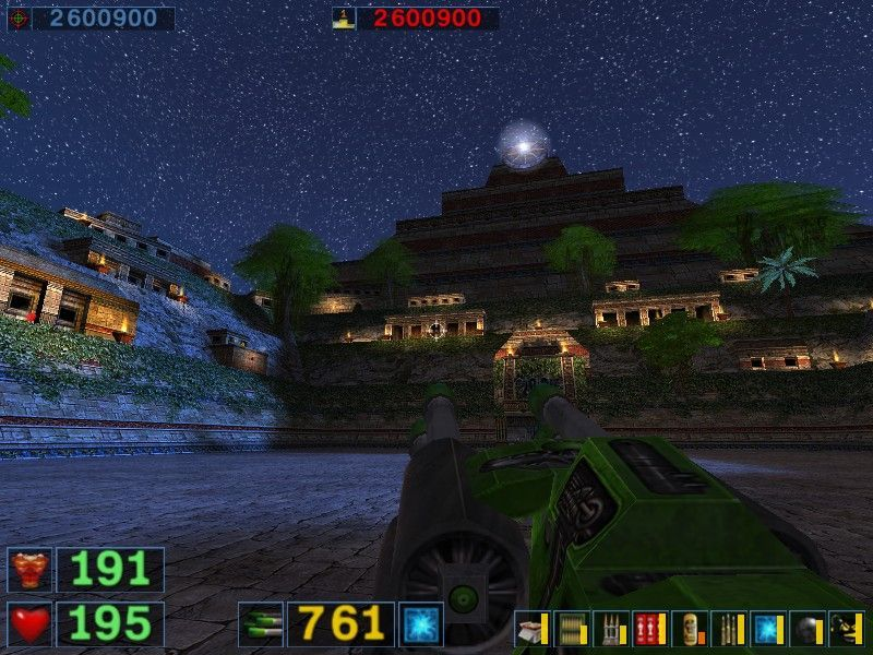 Serious Sam: The Second Encounter Windows Starry night, laser gun. Pick a fight, shoot them down. Seriously poetical game