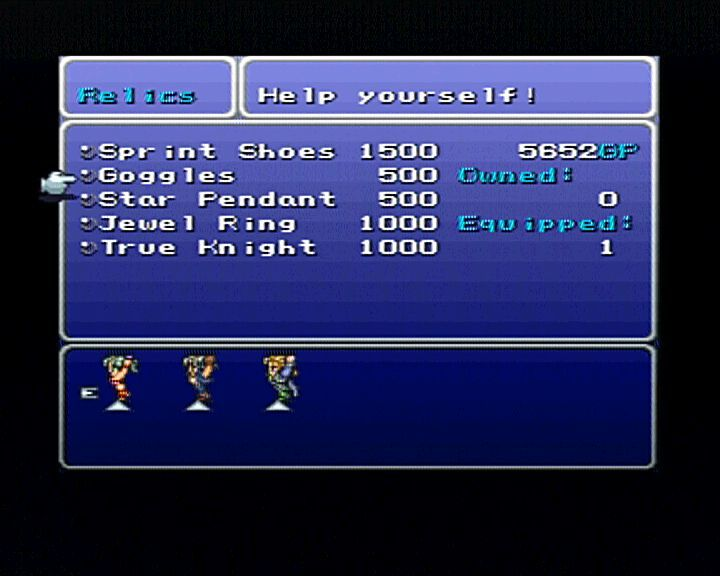 Final Fantasy III PlayStation Constant checking of store supplies is an imminent action you'll constantly encounter.