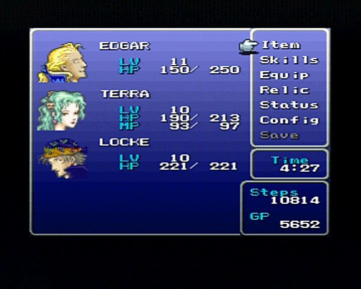Final Fantasy III PlayStation You should often pop behind the scene to set some option for your characters.