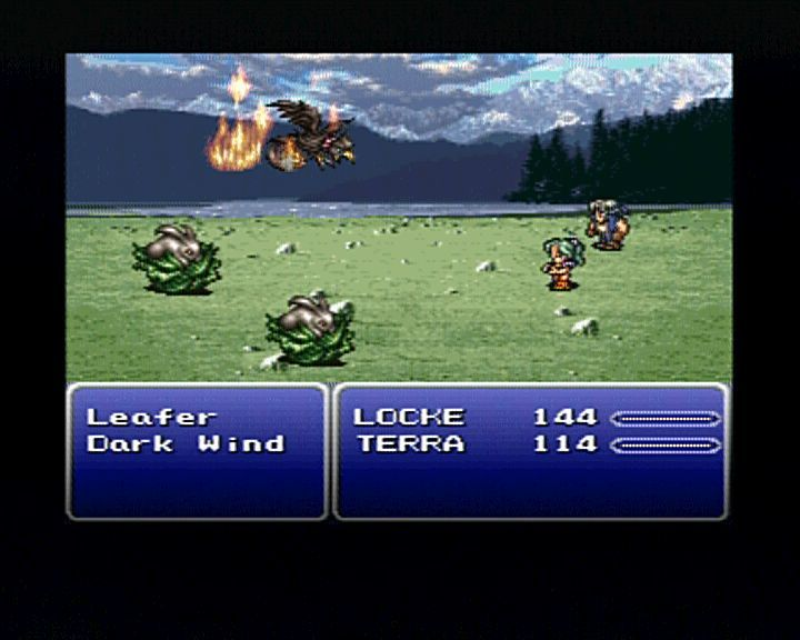 Final Fantasy III PlayStation Terra is using magic fire attack against regularly encountered beastiary.