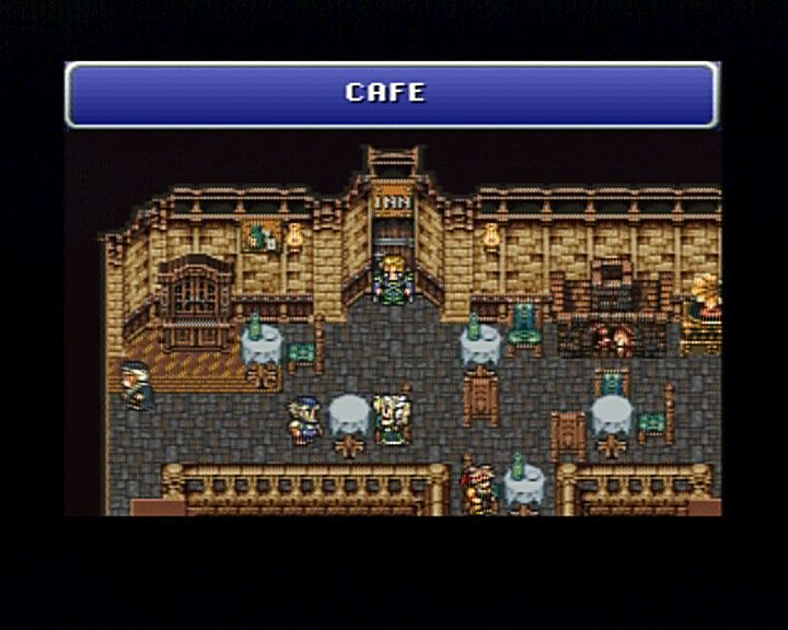 Final Fantasy III PlayStation Entering the cafe.
