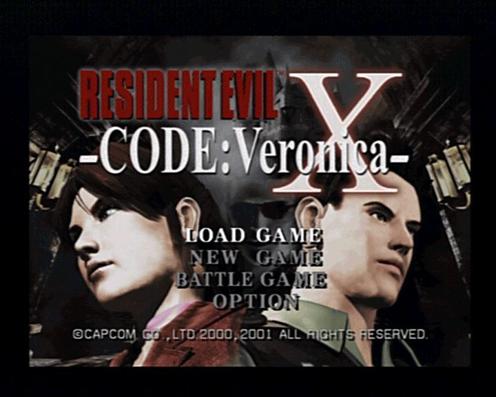 Resident Evil: Code: Veronica X PlayStation 2 Main Menu (BATTLE GAME option appears after completing the game once)