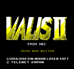 Valis II TurboGrafx CD Title screen