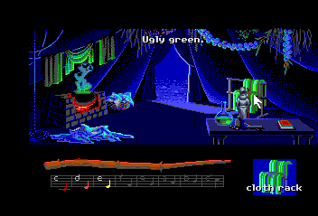 Loom TurboGrafx CD Fool around with the clothes, coloring it green