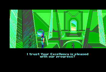 Loom TurboGrafx CD Conversation with Bishop Mandible, one of the game's villains