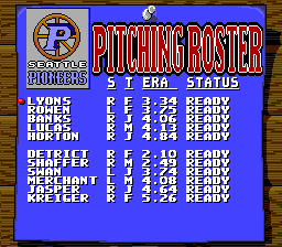 Roger Clemens' MVP Baseball SNES Pitching roster