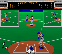 Roger Clemens' MVP Baseball SNES Bases loaded