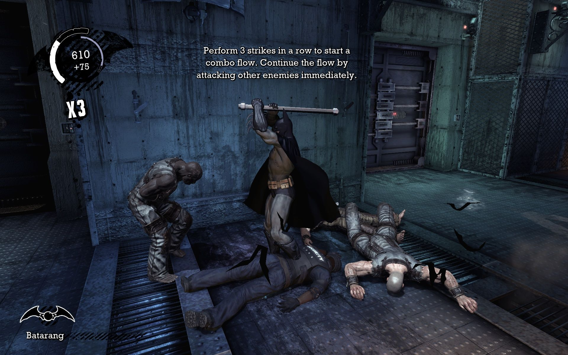 Batman: Arkham Asylum Windows Normally a punch in the face is enough but that guy just wouldn't stop hitting Batman with his pipe...