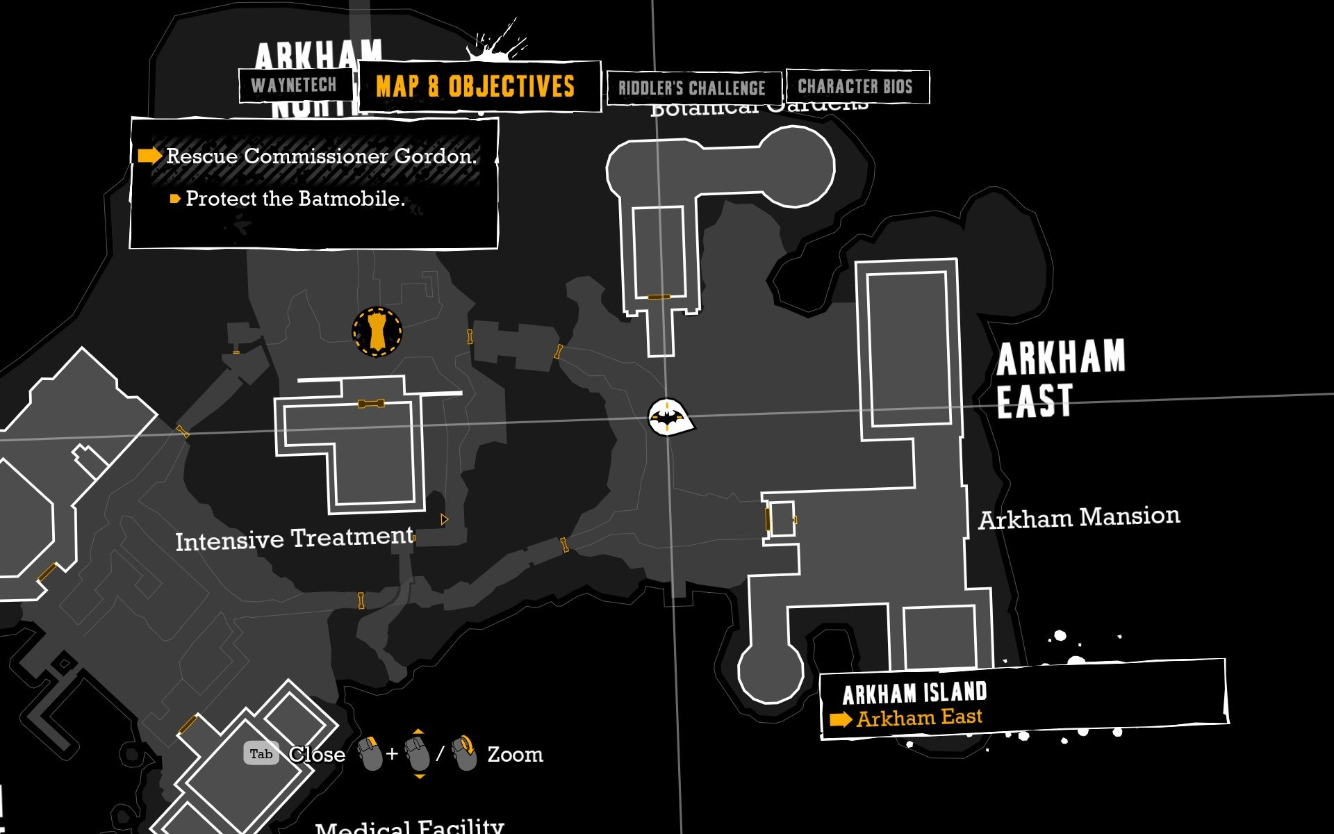 Batman: Arkham Asylum Windows The area map shows all the important information.