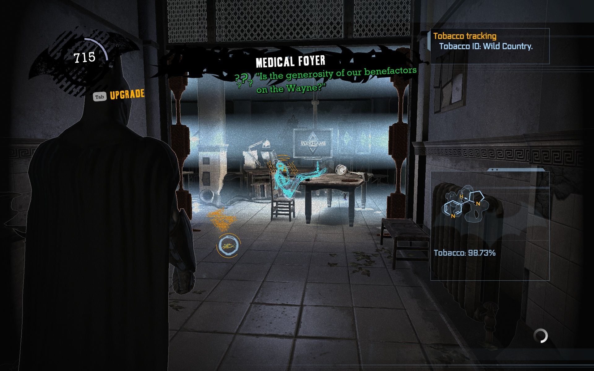 Batman: Arkham Asylum Windows That's Harley Quinn in detective mode.