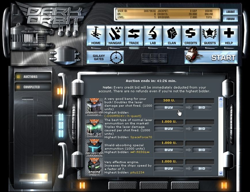Dark Orbit Browser Trading area: Here the players can sell their stuff to each other.