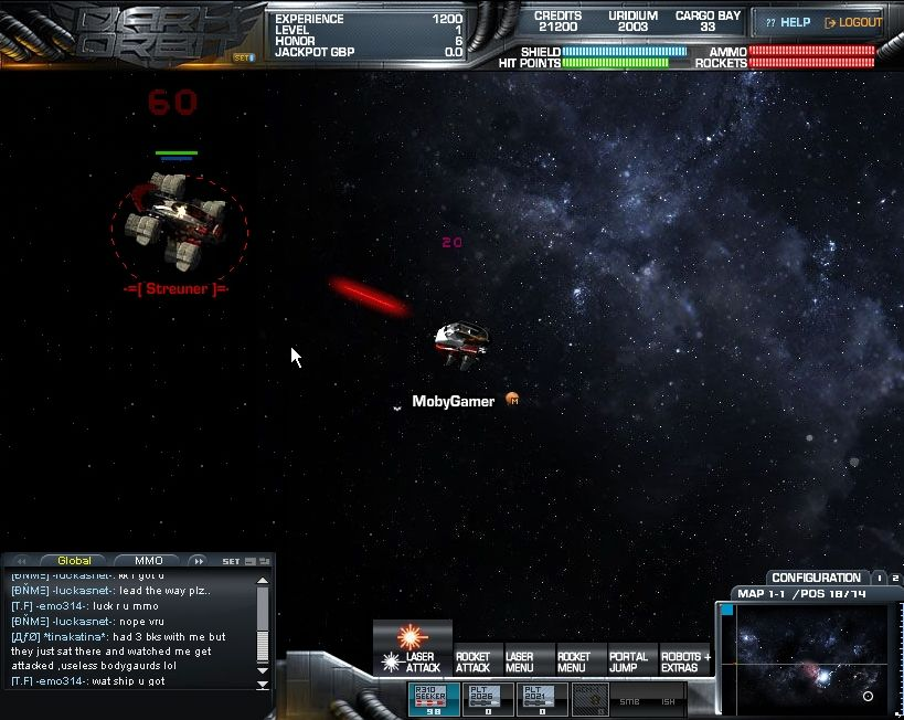 "Dark Orbit Browser The first neutral enemies are called ""Streuners"" which is German for vagrant."