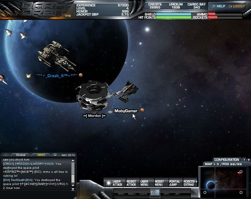 Dark Orbit Browser Fighting a stronger enemy with a friendly player.