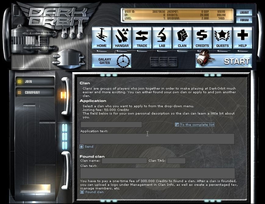 Dark Orbit Browser Clan area: Join a clan or found your own.