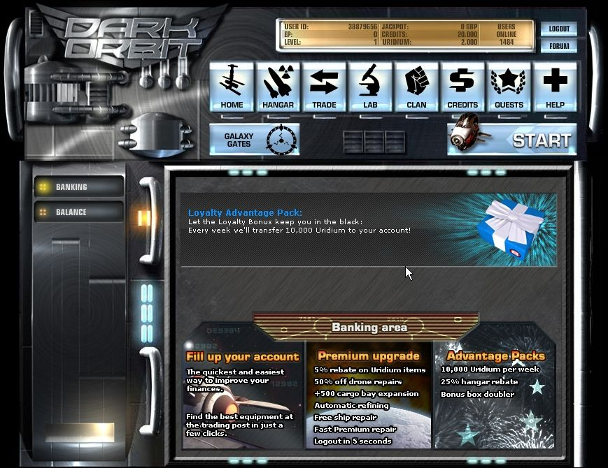 Dark Orbit Browser Credits area: Premium content anyone?