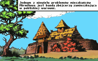 Kajko i Kokosz DOS Intro: the not-so-peaceful fortress of Zbójcerze