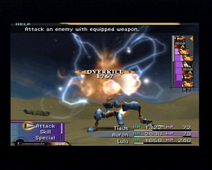 Final Fantasy X PlayStation 2 Lulu uses black magic lightning attack against this robot.