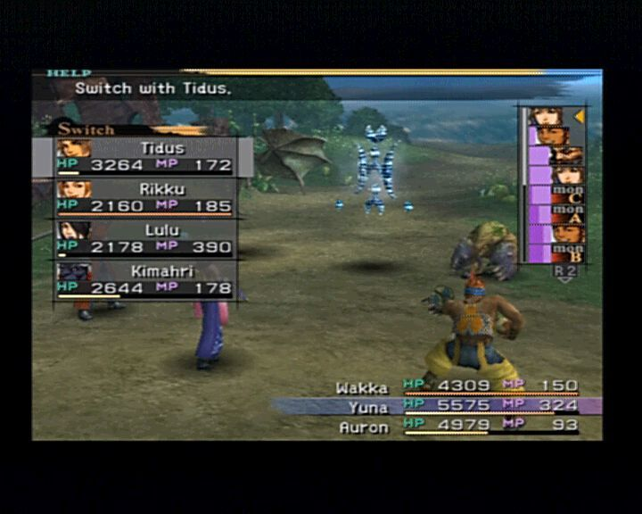 Final Fantasy X PlayStation 2 Ain' it great, you can switch between characters in the middle of a battle.