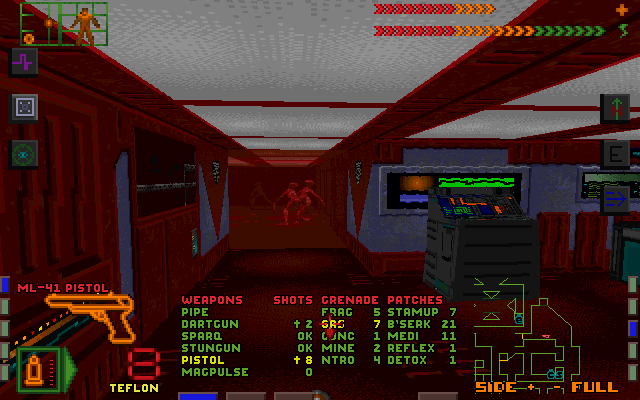 System Shock DOS What are those things? Whatever they are, I'm sure my gas grenades can make short work of them!